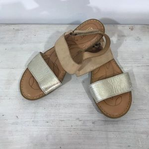 Born Fleet Sandals Gold & Natural Size 7 M